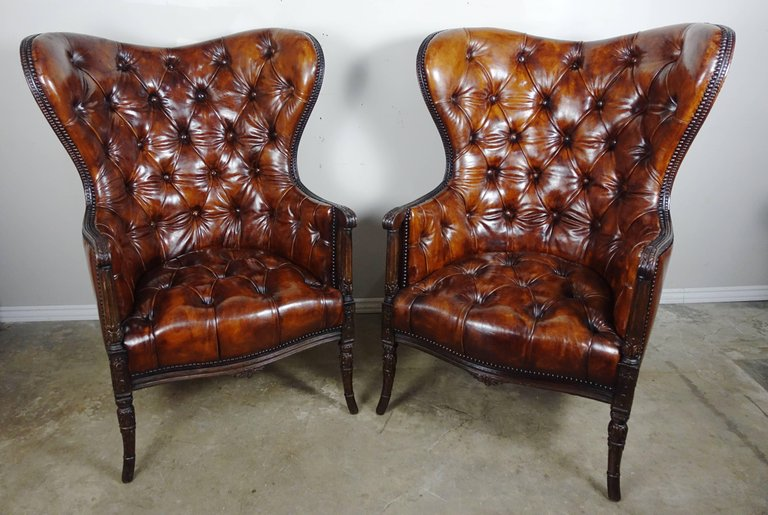 French Leather Tufted Wingback Armchairs, Pair2