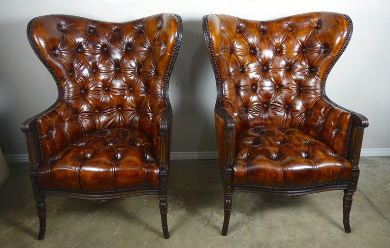 French Leather Tufted Wingback Armchairs, Pair3