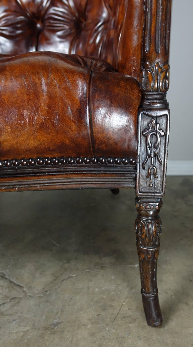 French Leather Tufted Wingback Armchairs, Pair6