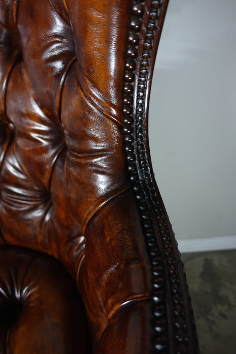 French Leather Tufted Wingback Armchairs, Pair7
