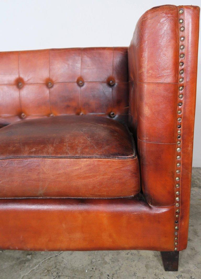 Italian Tobacco Colored Leather Sofa2