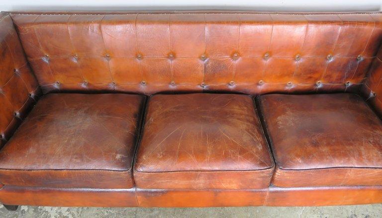 Italian Tobacco Colored Leather Sofa3