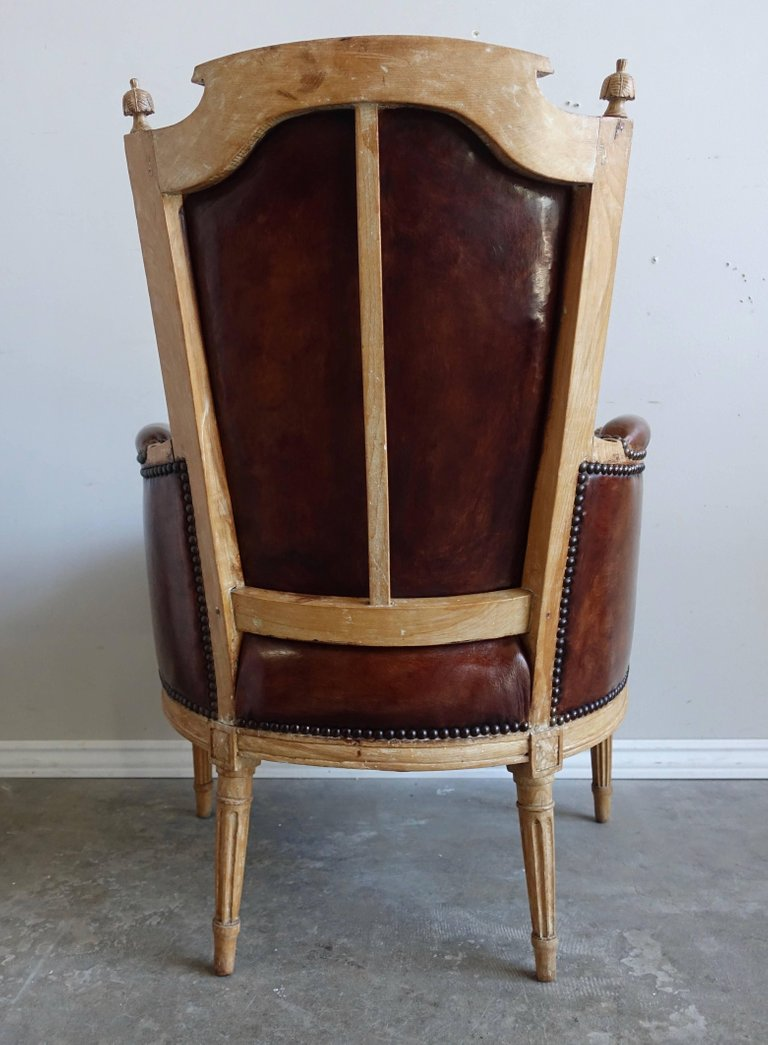 Louis XVI Style Leather Upholstered Armchairs, Pair11