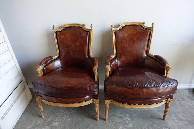 Louis XVI Style Leather Upholstered Armchairs, Pair3