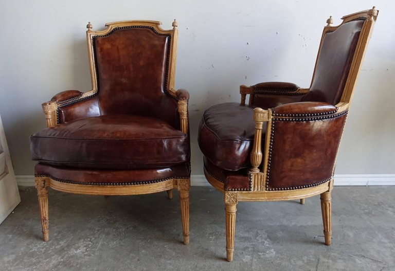 Louis XVI Style Leather Upholstered Armchairs, Pair4