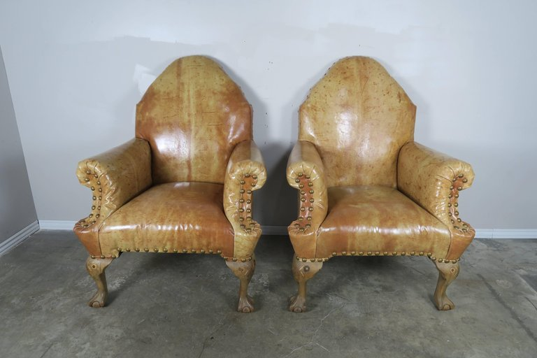 Pair of 19th Century Chippendale Style Leather Armchairs2