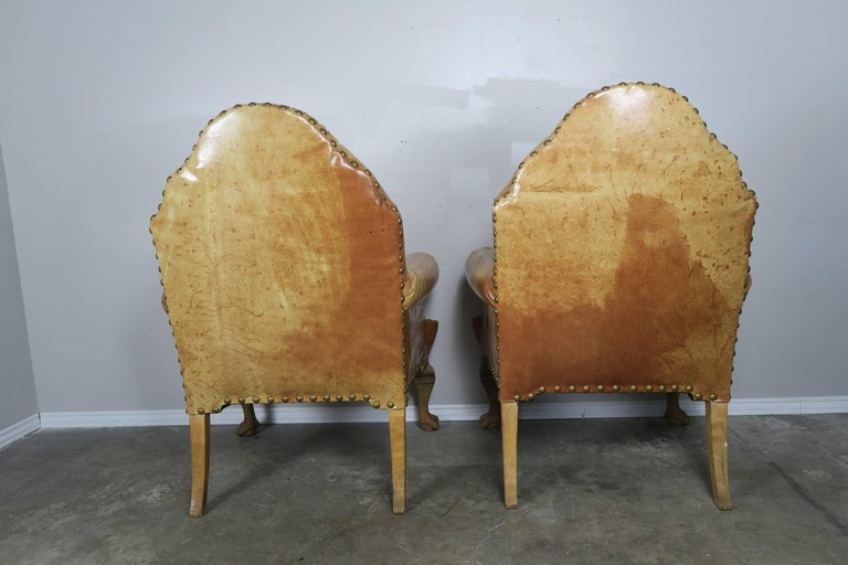 Pair of 19th Century Chippendale Style Leather Armchairs8
