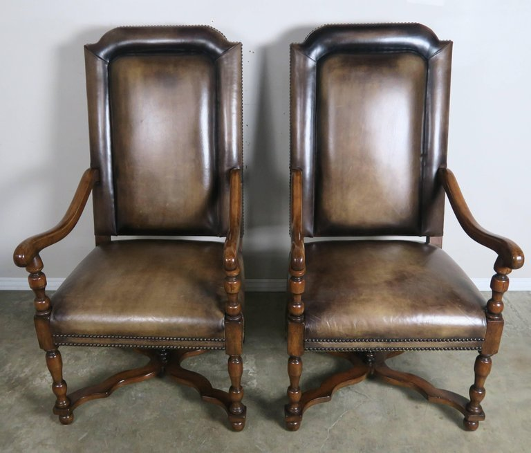 Pair of French Leather and Mohair Back Armchairs 1