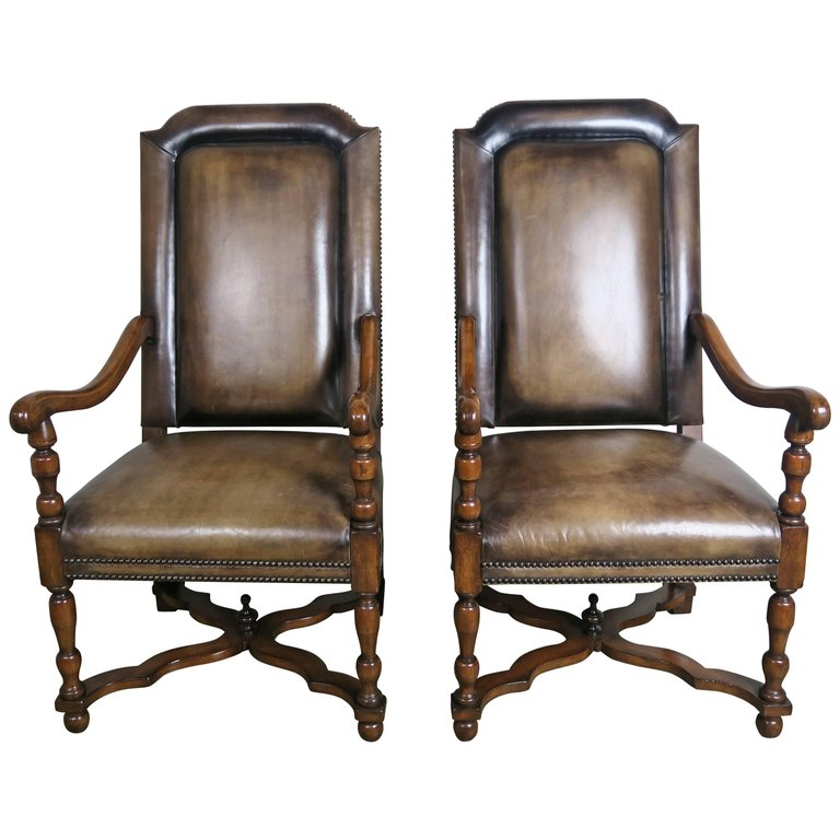 Pair of French Leather and Mohair Back Armchairs