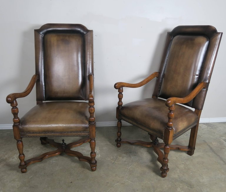 Pair of French Leather and Mohair Back Armchairs4