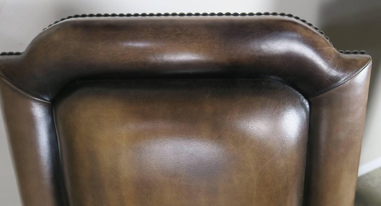 Pair of French Leather and Mohair Back Armchairs5