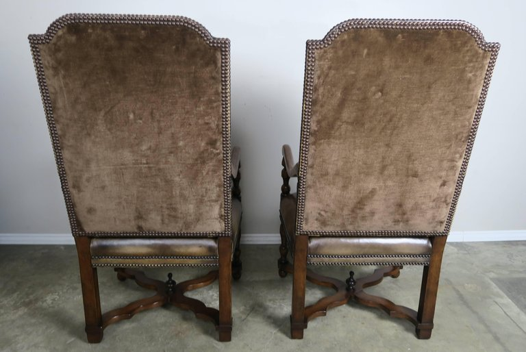 Pair of French Leather and Mohair Back Armchairs6