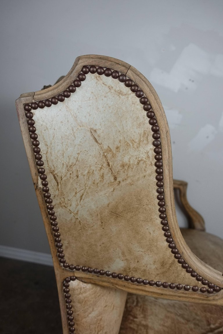 Pair of French Louis XV Style Leather Armchairs11