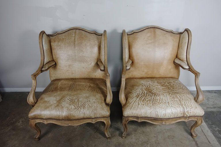 Pair of French Louis XV Style Leather Armchairs2