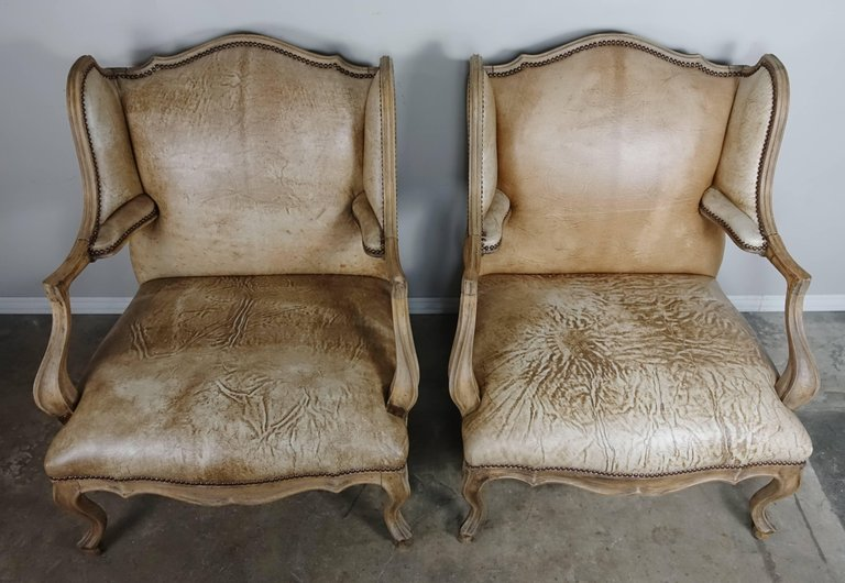Pair of French Louis XV Style Leather Armchairs3