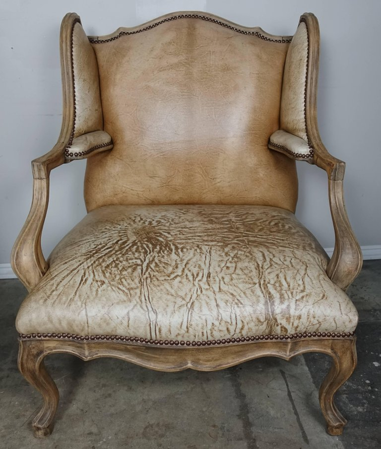 Pair of French Louis XV Style Leather Armchairs4