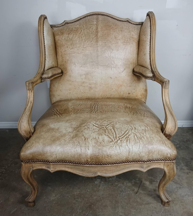 Pair of French Louis XV Style Leather Armchairs8