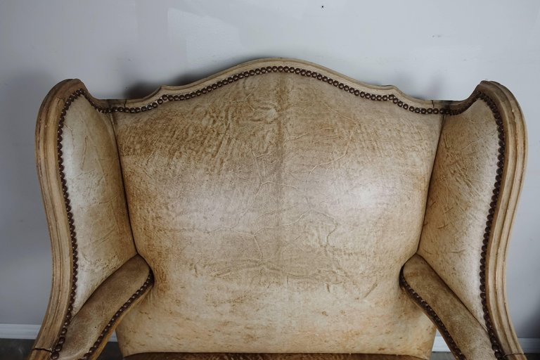 Pair of French Louis XV Style Leather Armchairs9