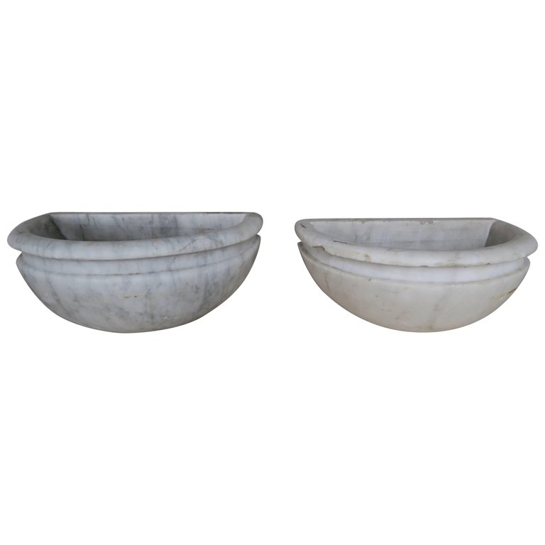 Petite Carrera Marble Italian Basins, Pair