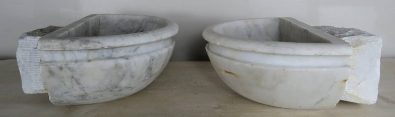 Petite Carrera Marble Italian Basins, Pair6