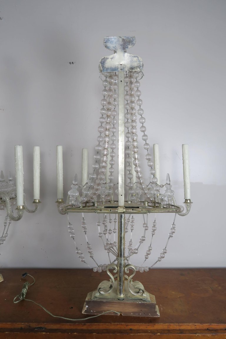 Rare Six-Light Handblown Murano Glass Lamps, Pair 13