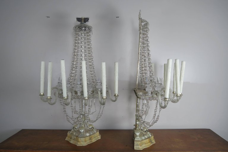 Rare Six-Light Handblown Murano Glass Lamps, Pair 2