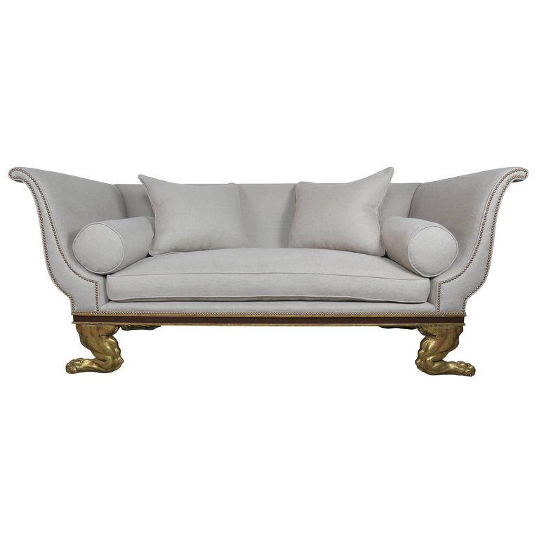 Regency Style Linen Upholstered Sofa with Giltwood Feet