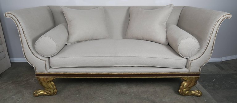 Regency Style Linen Upholstered Sofa with Giltwood Feet2