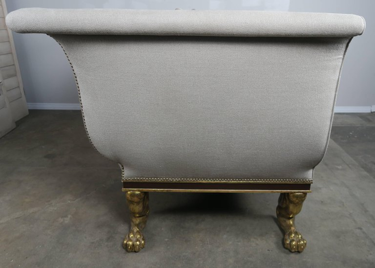 Regency Style Linen Upholstered Sofa with Giltwood Feet3