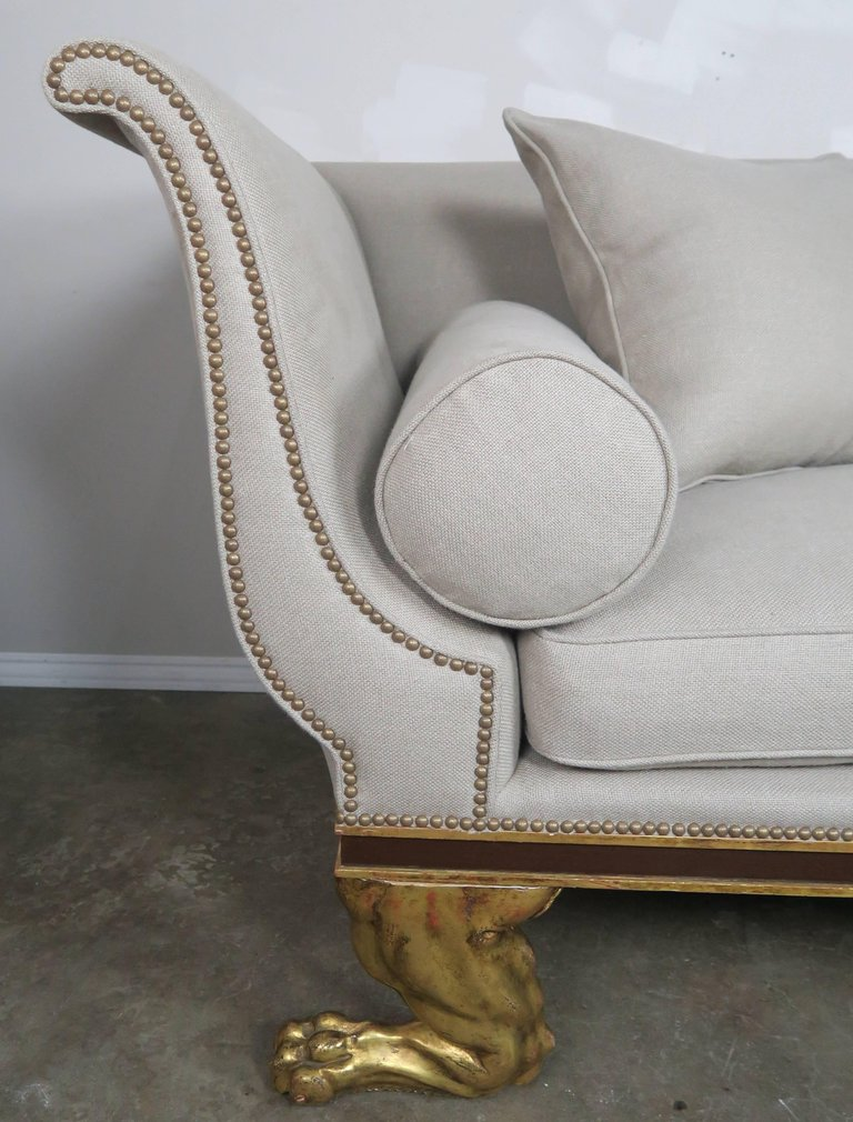Regency Style Linen Upholstered Sofa with Giltwood Feet5