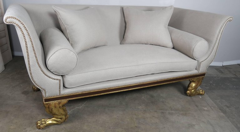 Regency Style Linen Upholstered Sofa with Giltwood Feet6