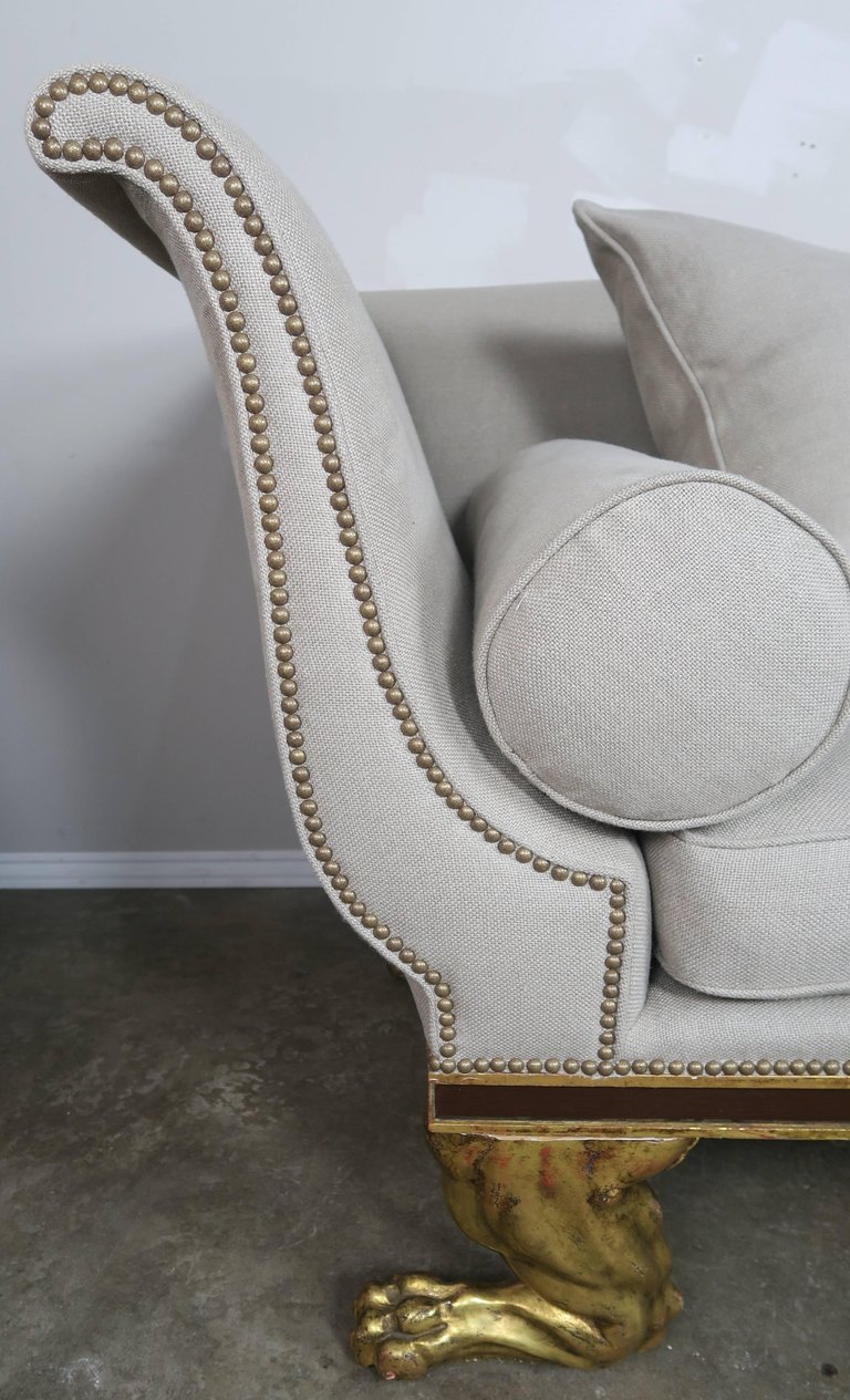 Regency Style Linen Upholstered Sofa with Giltwood Feet7