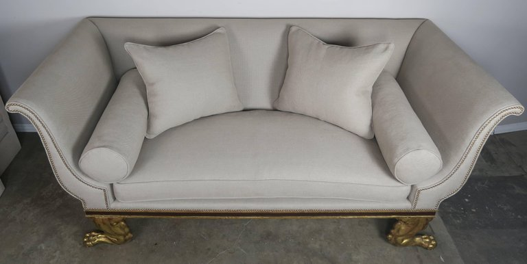 Regency Style Linen Upholstered Sofa with Giltwood Feet8