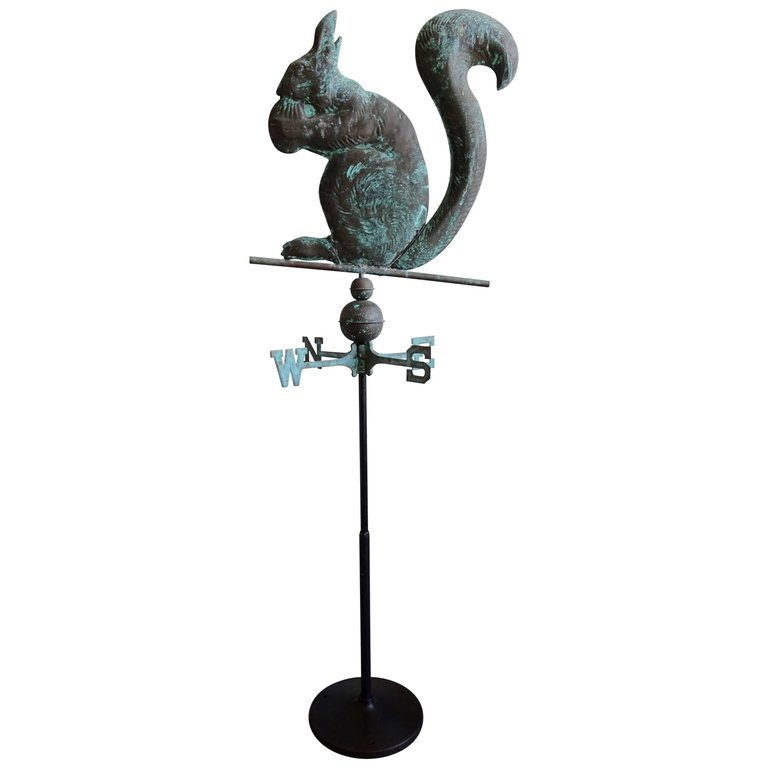 Unique Copper Weathervane of Squirrel on Iron Base
