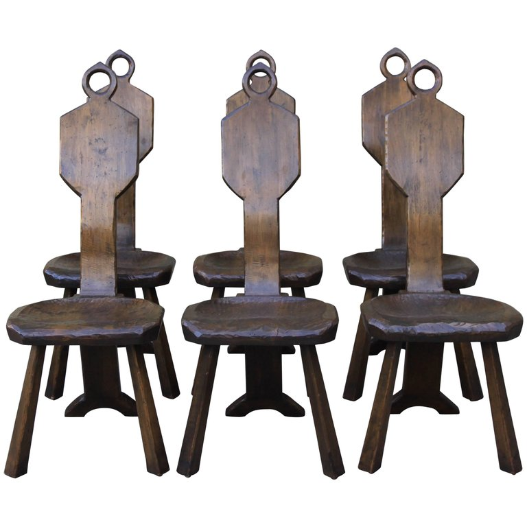 Perfect Set Of Six American Primitive Chairs By John Barbor