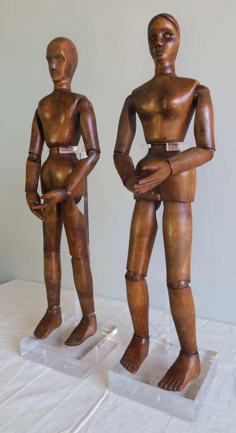 19th Century French Articulated Artist's Mannequin Wooden Dolls, Male & Female