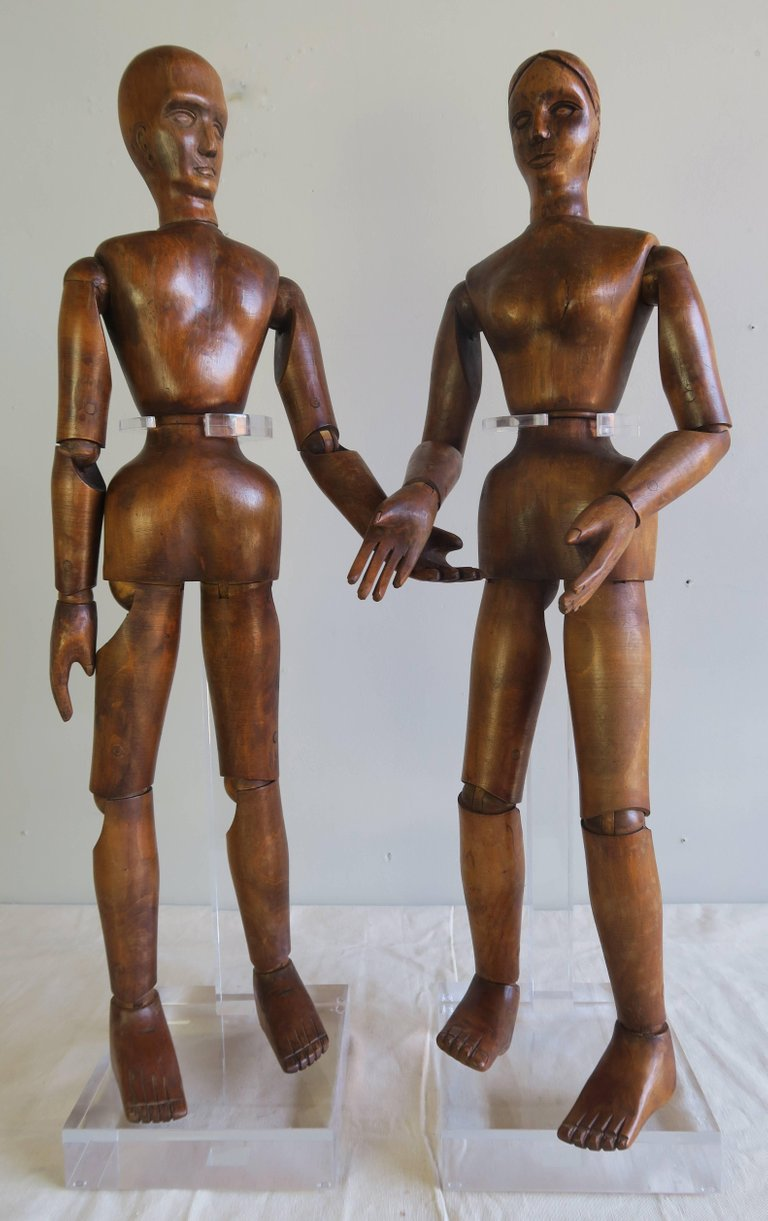 19th Century French Articulated Artist's Mannequin Wooden Dolls, Male & Female1