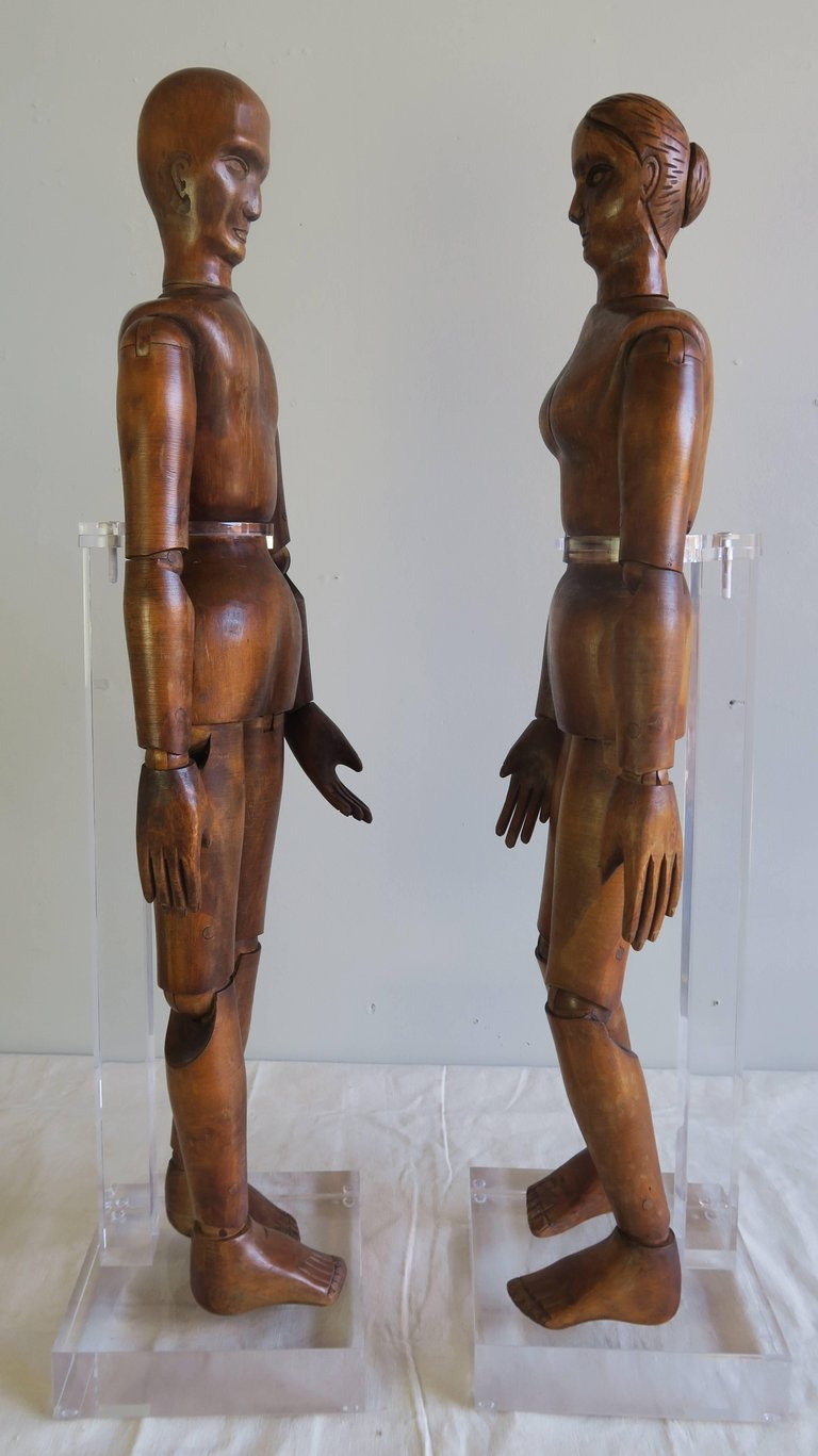 19th Century French Articulated Artist's Mannequin Wooden Dolls, Male & Female2