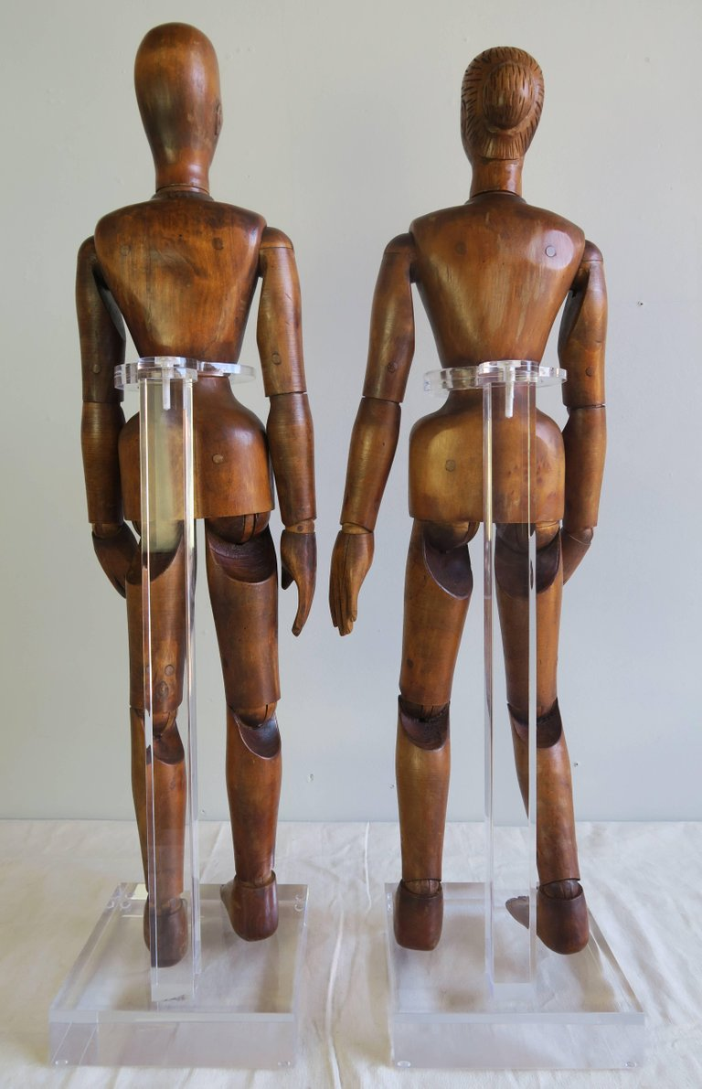 19th Century French Articulated Artist's Mannequin Wooden Dolls, Male & Female23