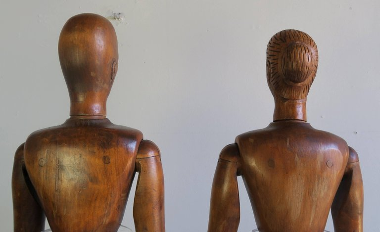 19th Century French Articulated Artist's Mannequin Wooden Dolls, Male & Female8