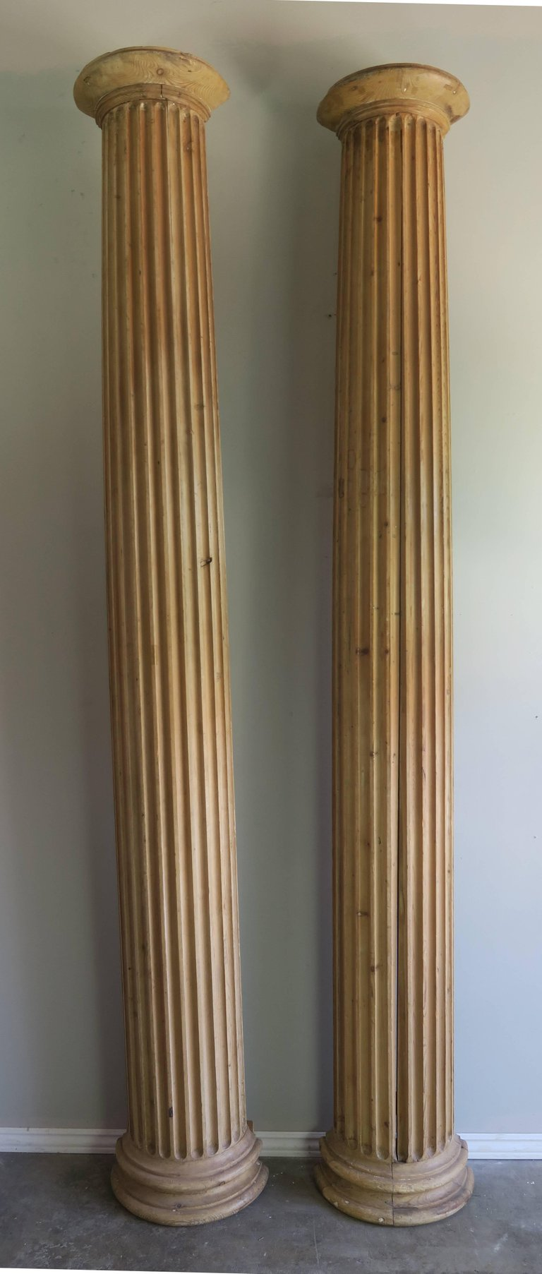 19th Century Italian Carved Pinewood Pilasters, Pair