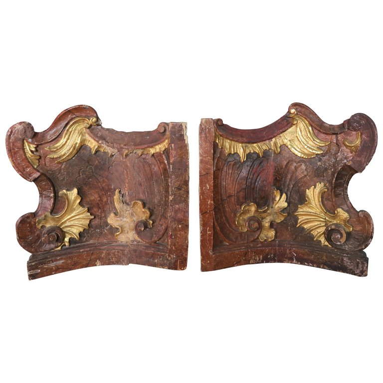 19th Century Italian Painted and Parcel-Gilt Architectural Fragments