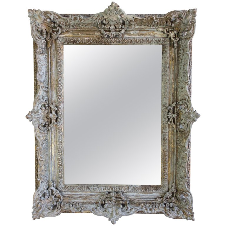 19th Century Painted and Parcel-Gilt French Frame with Mirror1