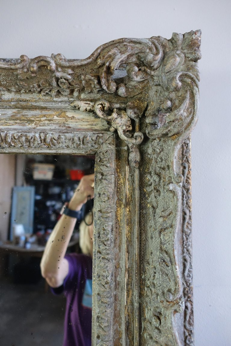 19th Century Painted and Parcel-Gilt French Frame with Mirror2