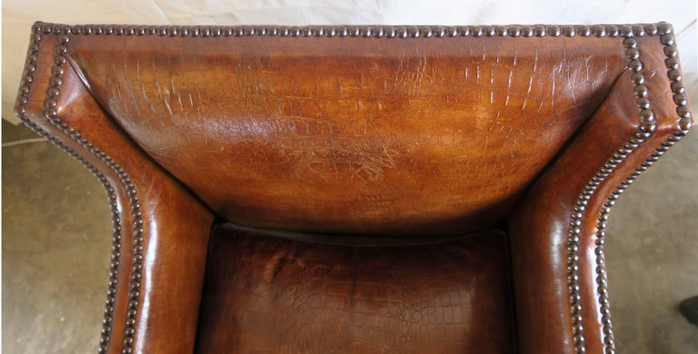 Deco Embossed Faux Crocodile Leather Chairs, Pair10