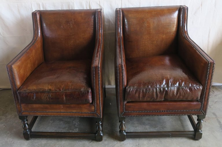 Deco Embossed Faux Crocodile Leather Chairs, Pair2