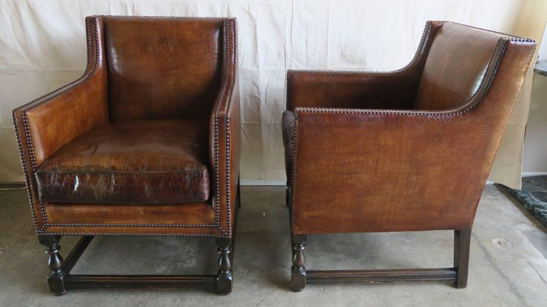 Deco Embossed Faux Crocodile Leather Chairs, Pair3