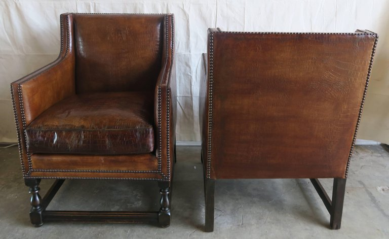 Deco Embossed Faux Crocodile Leather Chairs, Pair4