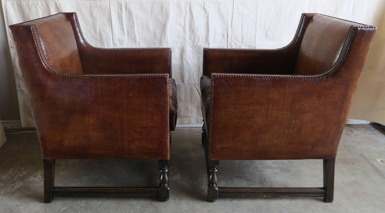 Deco Embossed Faux Crocodile Leather Chairs, Pair5