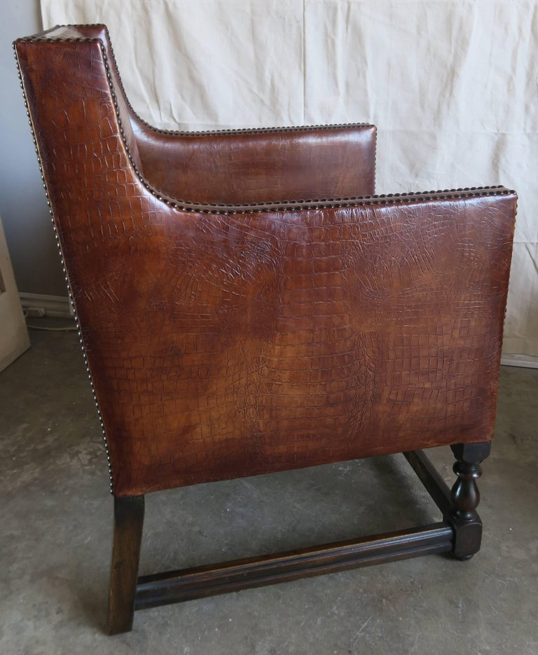 Deco Embossed Faux Crocodile Leather Chairs, Pair6